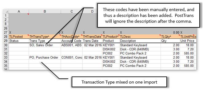 Multiple Transaction Type Layout