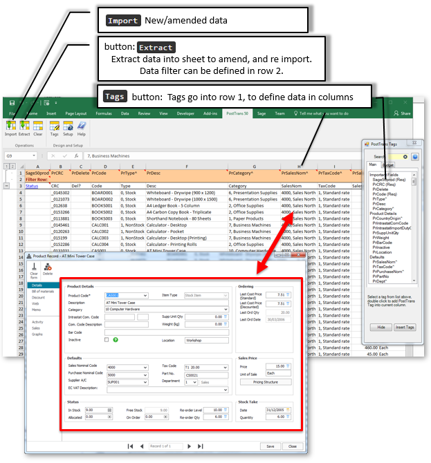 Supplier template for importing into Sage 50