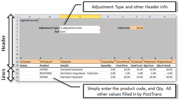 Simple Sage 200 Stock Adjustment in Excel