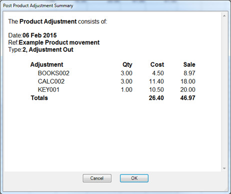 Confirmation window showing summary of transaction.