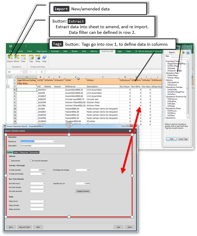 Extract/Import Sage 200 Operation Records