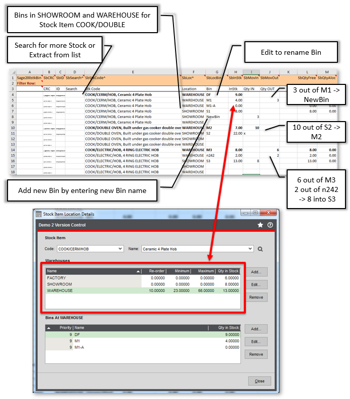 Extract/Import Sage 200 Stock Bin Movements