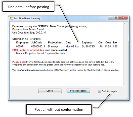 Conformation and Validation before Posting Expense Line