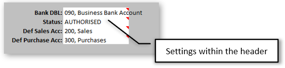 Transaction Import Options in Header of Template