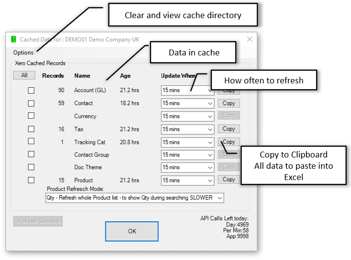Cache settings for Xero Data
